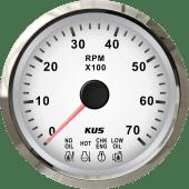KUS Turteller 7K 4 LED alarmer Hvit/rustfr.