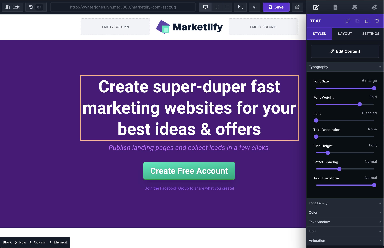 Marketlify - Page Editor / Builder