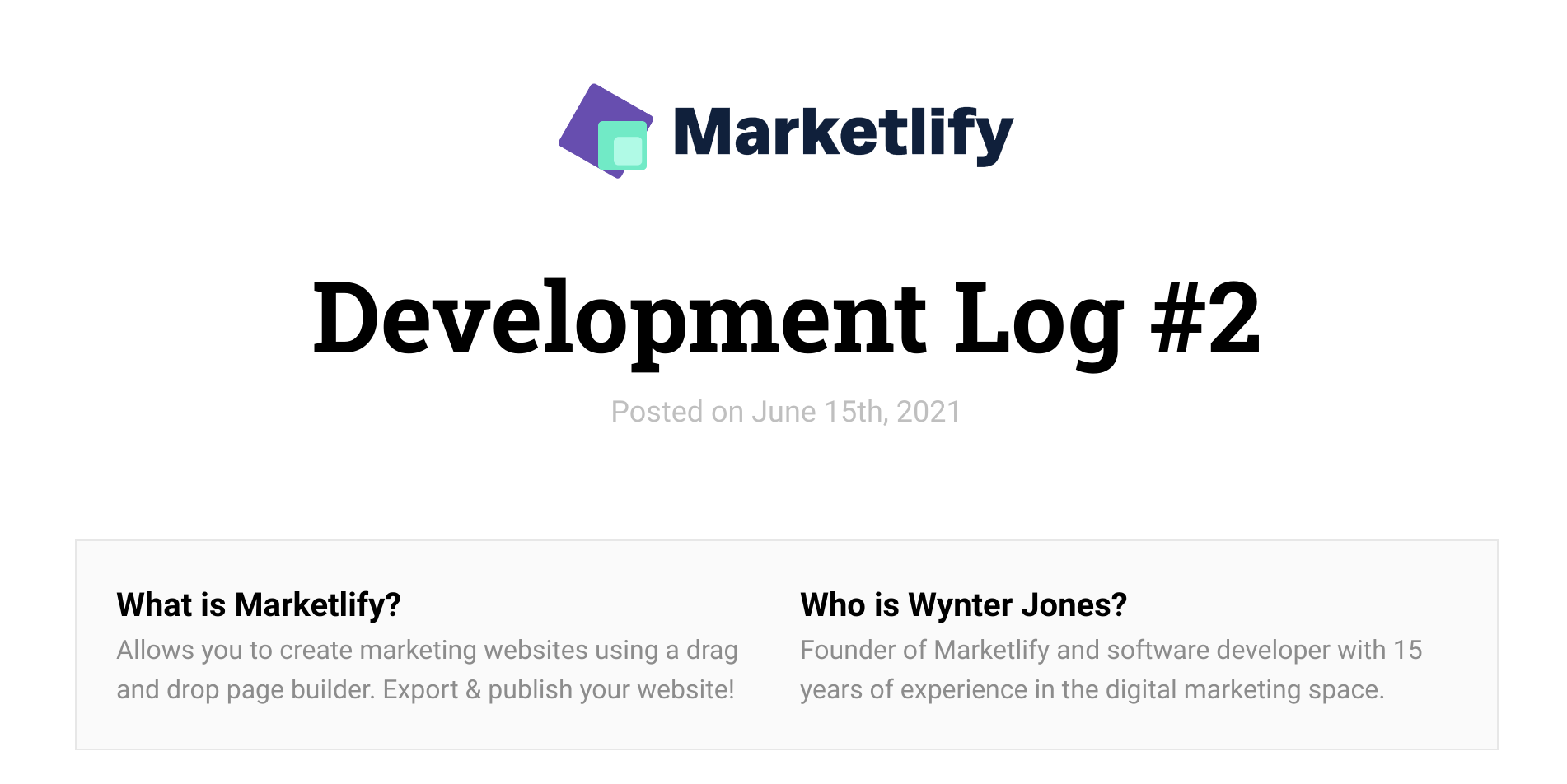 Developing Marketlify