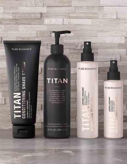 Men's Line in Titan. Conditioning Shave Cream, Nourishing Body Lotion, Body Oil, & Body Splash