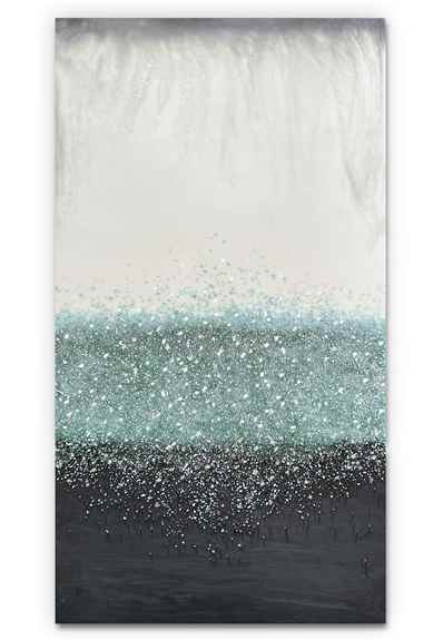 """""""Crystal Rain"""" 24""""x 48"""" Acrylic paint, broken mirror glass, mica powder and resin on wood panel.<br /><br />Custom recreation available in any size or color range!"""