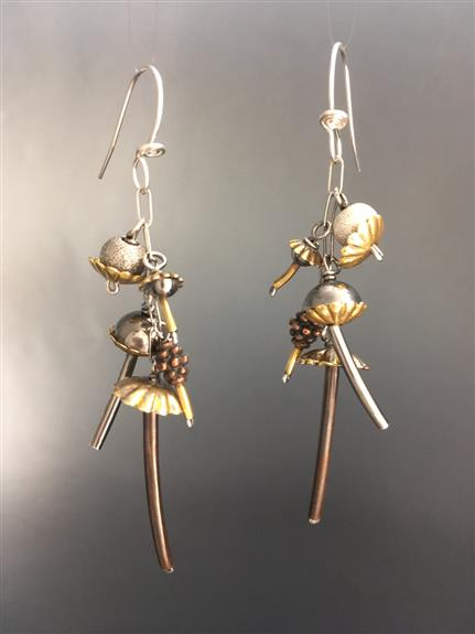 Everyone Loves Ginkgo, large ginkgo earrings in brushed brass and silver shown, $48, lots of varieties in metals, finishes, and sizes, my best sellers!