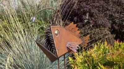 Rusty Angler Fish garden art.