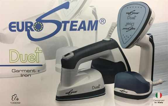 Eurosteam® Duet 2 in 1 Iron-Patented technology equipped with 180° rotary head that permits the use also as iron by simply rotating the plate. Vertical ironing allows to penetrate deeply into the fibers and regenerate them, to release fabrics and remove c