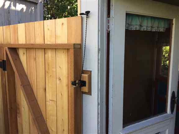 Customer built a new gate next to his house, but could not get into the backyard without going through the house. The Front Post Lever opens the gate in a snap.