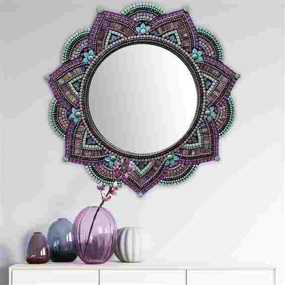 21in diameter Mandala Mirror. Glass beads, glass tiles, and metal. Very light and easy to hang. Indoor only. $600