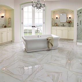 Piet Calacatta porcelain tile<br />Bathroom renovation