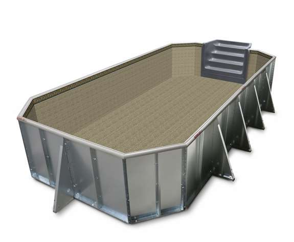 The Cool Pools Grecian option with neutral liner. Available in 4 sizes.