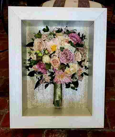 Bouquet in our white wash shadow box.