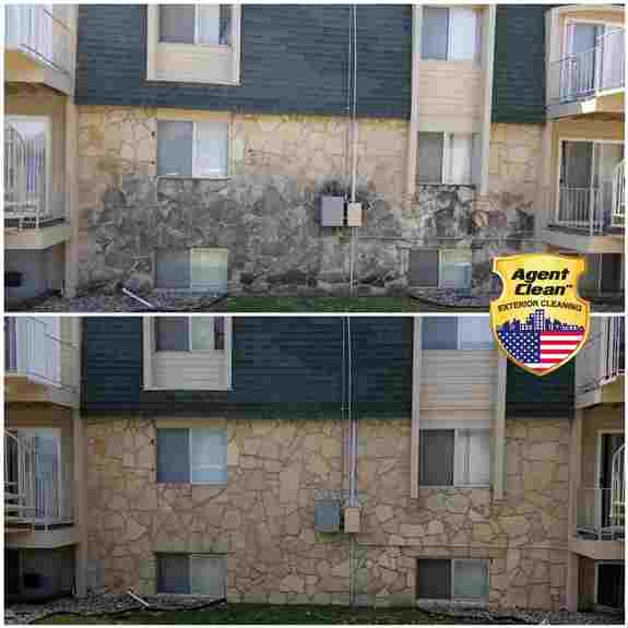 We can clean more than just vinyl sidings. Our equipment allows us to handle any project. This stone siding was dirty for years, we got it looking new by the time we were done with it.