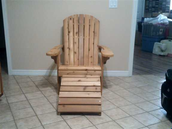 Original chair with a foot stool. So comfortable. Made from Western Cedar.