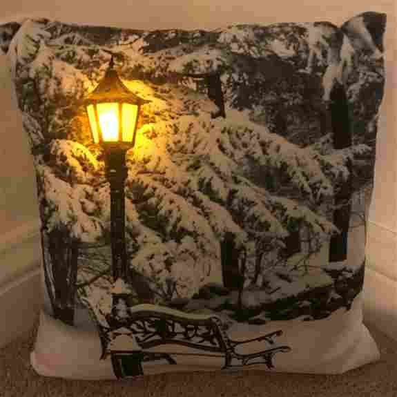 Our LED Luminous Holiday Pillows are the perfect touch to your holiday decor. These beautiful pillows will brighten your bedroom, couch or chair by day and will light up with the 4-hour timer and 10 LED lights.  A beautiful addition to any home or a uniqu