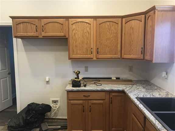 Standard oak cabinets.
