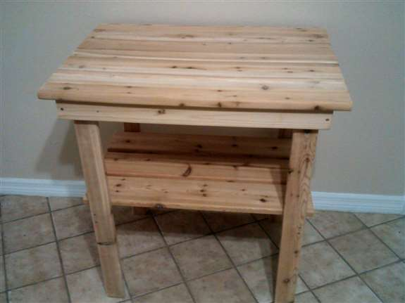 Rectangle Side Table. 32 inches tall; 32 inches long; 24 inches wide. Made from Western Cedar.