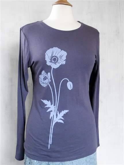 Bamboo / Organic Cotton Long Sleeve T-Shirt with Poppies