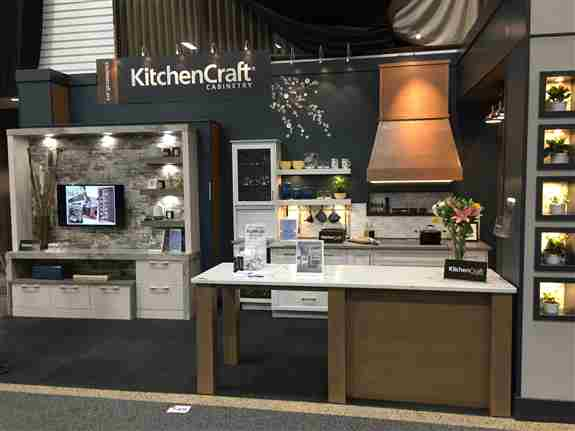 Kitchen Craft's Award winning booth featured at the 2020 Kitchen, Bath and Renovation Show!  Two years straight!!