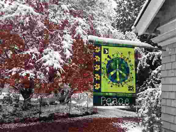 Wide assortment of Painted Peace Garden Flags and Banners<br />