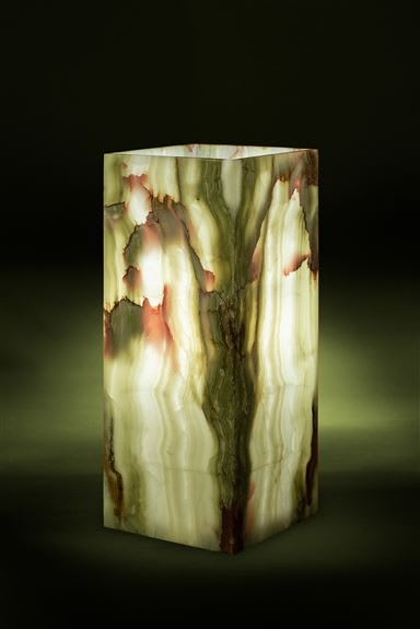Zion Green Onyx Cube Floor Lamp - Beautiful banded green onyx, book-matched to create a stunning work of art