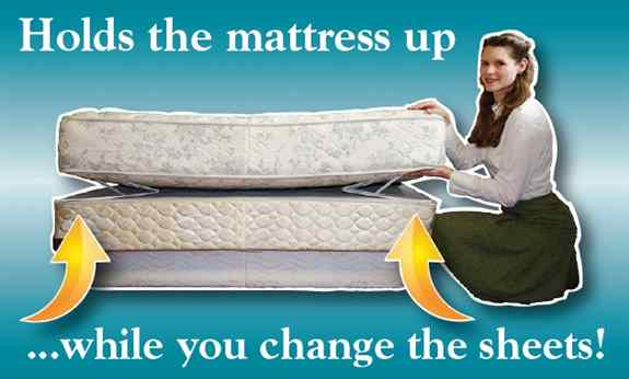 The BedMaker holds the mattress up while you change the sheets. Don't struggle with a heavy mattress, ever again!