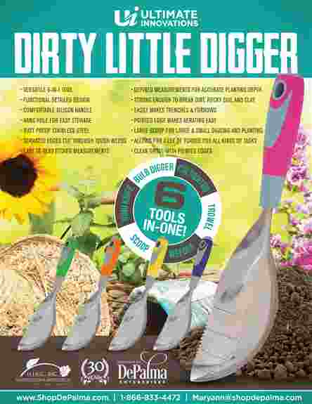 The Ultimate Innovation's Dirty Little Digger is one of the most versatile garden tools around!  This one tool replaces 6 common garden hand tools!!  Made from durable and tough 14-gauge stainless steel to tackle tough gardening chores. The Dirty Little D