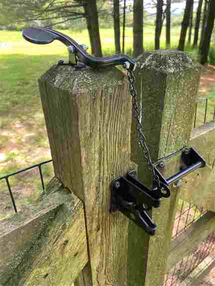 This combination has been popular for Airbnb's and vacation rentals. In this case the customer wanted to easily open his gate while carrying groceries. A new straight lever is coming soon!