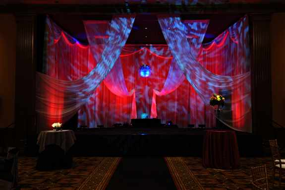 Uplighting and Mirror Ball with Drapes