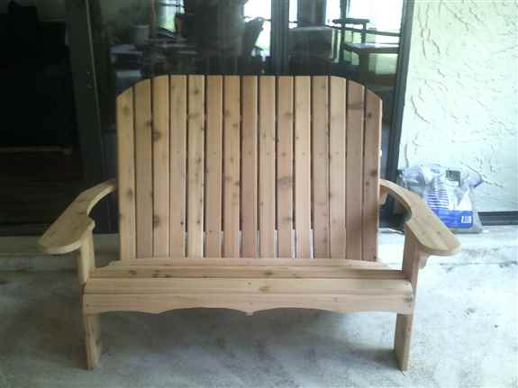 Love Seat! Chair width is 44 inches. Made from Western Cedar.
