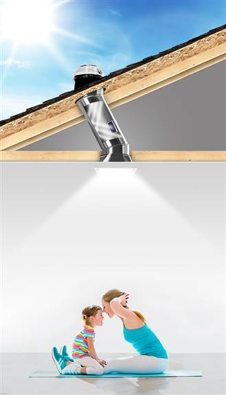 """A simple 10"""" Solatube Skylight can bring in enough daylight to light a 10x10 space!"""