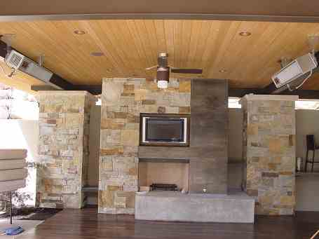 Gas fireplace on deck.
