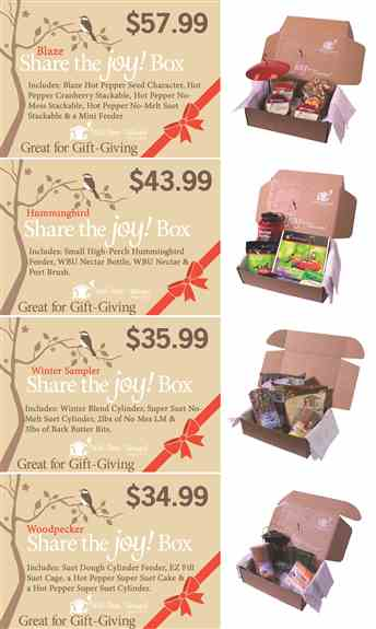 Our Share the Joy Boxes are the Perfect Gift for Sharing the Love of Birds with Your Family and Friends.