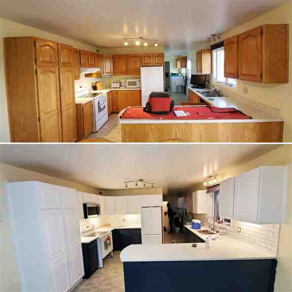 Before and After <br /><br />Honey oak cabinets before and they were refinished in High Reflective White which is one the most popular whites we use (Sherwin Williams) and Wrought Iron (Sherwin Williams). We also did the backsplash and countertop in this