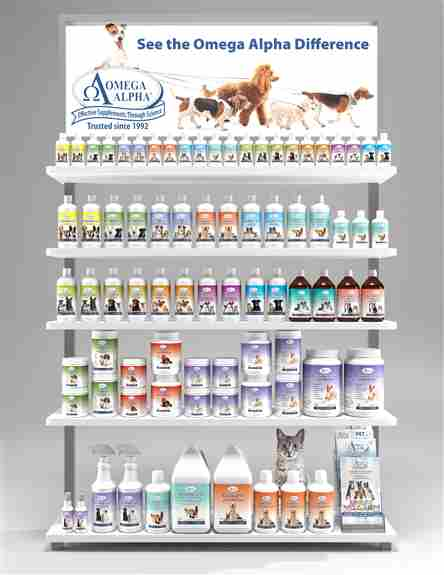 Omega Alpha offers an extensive pet line of natural health supplements. Ranging from gastrointestinal health, bone and joint support, detox formulas, food fortifiers and more!
