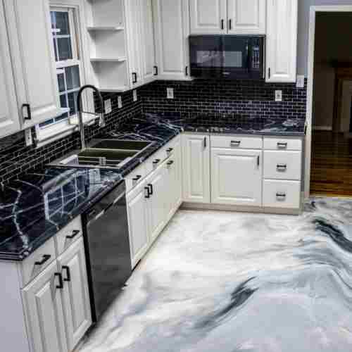 Countertops and poured floor!