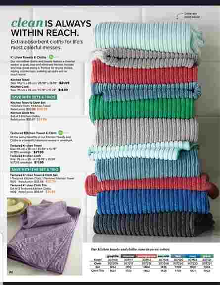 Our kitchen cloths and towels are ultra absorbent and made with our same microfiber that removes and traps 99.9% of bacteria. Plus they come in many beautiful colours to compliment any kitchen.
