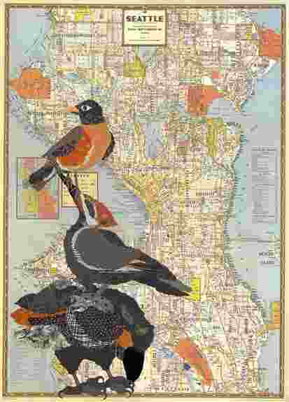 Good Neighbors<br />Crows and robin over 1946 poster map of Seattle<br />Original Available, framed 24 x 30, $625<br />Prints, approximately 20 x 24, $125