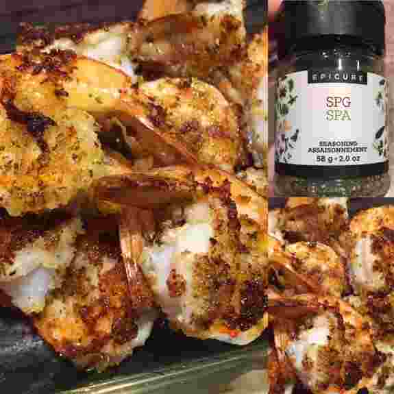 Breaded shrimp are amazing with our SPG seasoning.   A blend of salt, pepper, garlic and a few herbs!