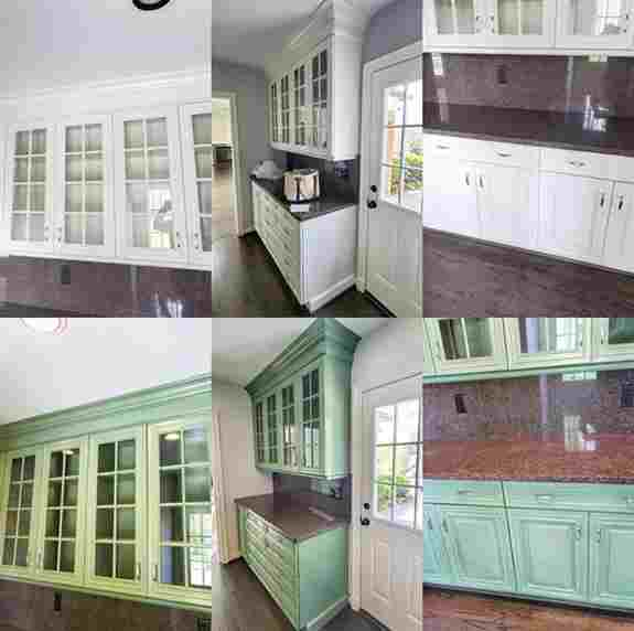 We'll work with you to help create the perfect look for any cabinets in any area of your home. First, you'll decide what kind of finish you would like. If you're after a solid color, we can paint the cabinets, or we can re-stain them to let the wood grain