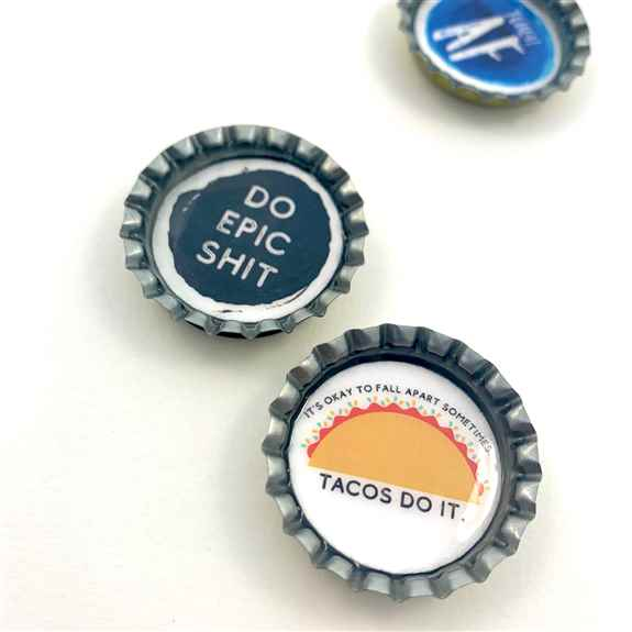 Handmade bottle cap magnets that a great addition to any card as a gift!