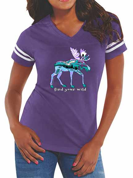 Find Your Wild (moose 2020)<br /><br />L.A.T. Ladies Jersey Football Tee