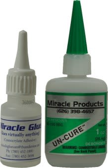 Miracle glue and Debonder. 5x the bond of any other glue. Doesn't dry. Is airtight, watertight, takes shock and vibration.