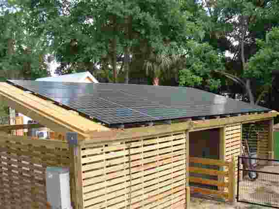 This is a solar loafing shed so this customer can store hay and feed for their animals.