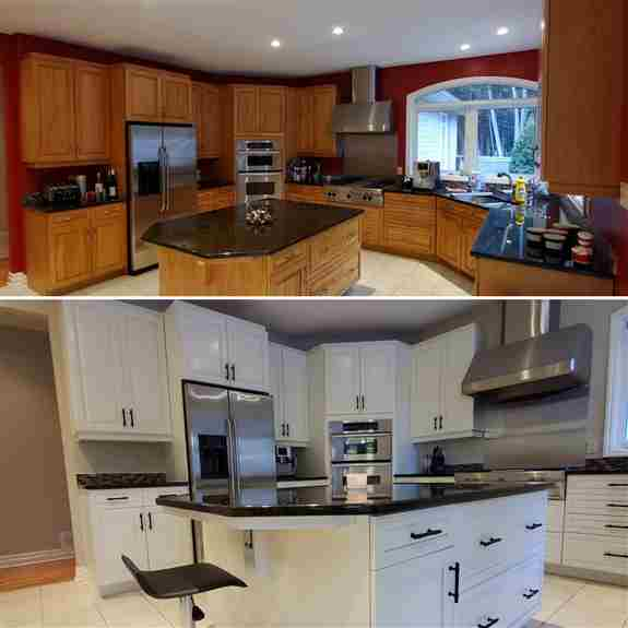 Before and After<br /><br />Maple cabinets before and they were refinished in China Doll (Sherwin Williams) we also added new handles