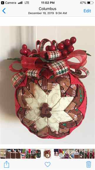 """We have many different colors, theme """"Quilted Christmas Ornaments"""" to choose from"""