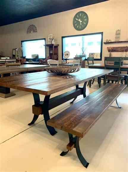 """Just one example of our many quality built, handmade tables that can be entirely customized to your taste.<br /><br />Floor Model at Show: 42""""x60"""" Table with a 1 1/2"""" thick Barnwood Top in a Provincial Finish ($1907) and 2 - 60"""" matching benches ($702 eac"""
