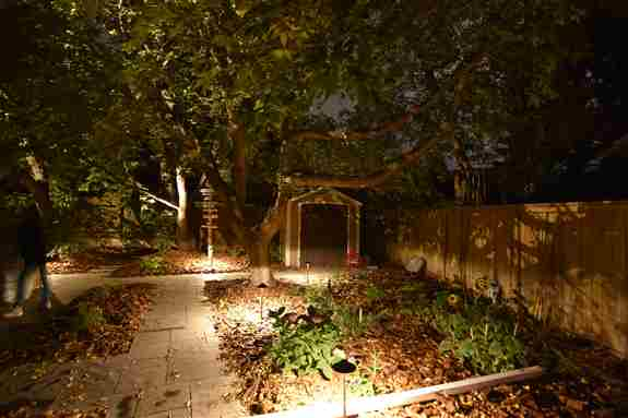 "This is a perfect example of a ""Moonlight"" landscape lighting effect. As a result of the lights being positioned within the trees, it helps to illuminate the area below, but in the process it casts some really cool shadows"