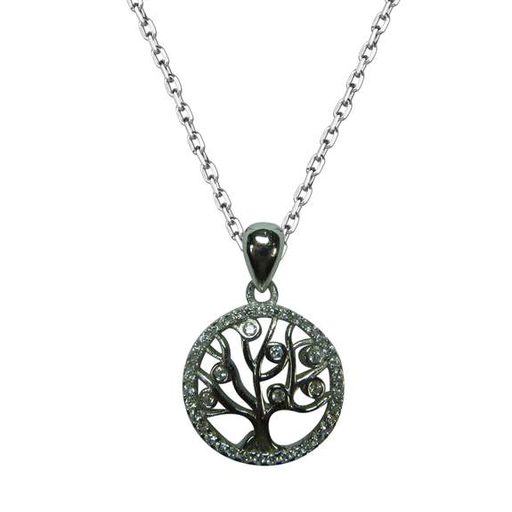 Tree of Life necklace in sterling silver with cubic zirconia stones.