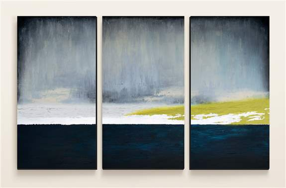 """""""Reverence"""" 3 - 24""""x 48"""" panels. Acrylic paint, heavy texture, silver leaf and varnish on 3 canvases<br /><br />Custom recreation available in any size or color range!"""