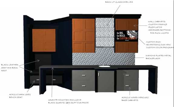 From your idea to a concept drawing to your dream space!  Yup, we even do custom colors, so you bar can match your Harley fellas!