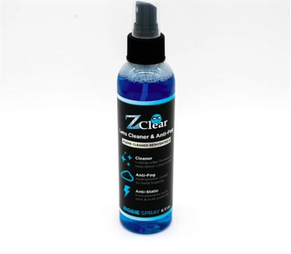Z CLEAR BIGGIE SPRAY<br /><br />Clean & prevent fog, dirt, dust and oil smudges on glass with the best lens cleaning solution spray. The best price per ounce, the Biggie is a safe glass cleaner offered at a low cost. Hydrophobic properties are in every sp