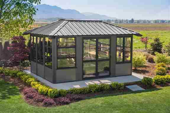 At LCL Spas we offer beautiful gazebos that are built to last. Many models have skylights, tempered glass windows, low maintenance aluminum frames and metal roof systems.  High quality components and solid construction make our resort gazebos a long term